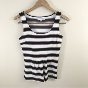 Banana Republic Neutral Stripe Peplum Tank Top